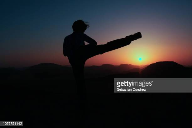 women doing tae kwon do(ahp cha-gi) in the wadi rum desert, silhouette at sunset, jordan - martial arts stock pictures, royalty-free photos & images
