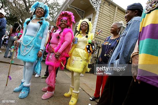 Women dress as Native Americans during the Zulu parade a primarily AfricanAmerican parade during Mardi Gras festivities February 8 2005 in New...