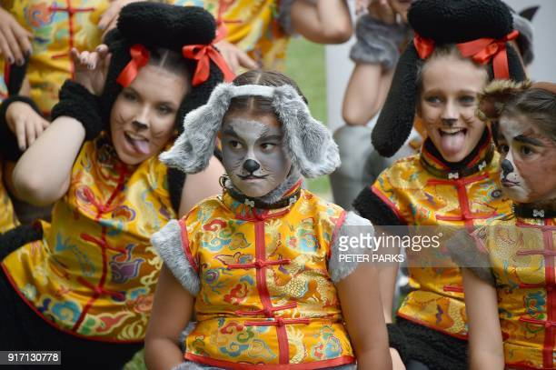 Women dressed as dogs in Chinesestyle costume perform at a media launch for the Lunar New Year Festival in Sydney on February 12 2018 The festival to...
