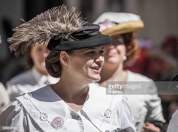 women dressed as suffragettes, copenhagen, denmark - suffragist stock photos and pictures