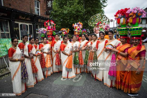 Women dressed in Indian costumes during the Manchester day festival Manchester Day is an annual event that celebrates everything great about the city...