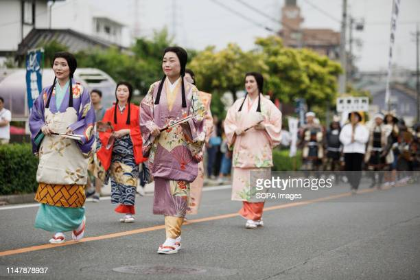 Women dressed in traditional costumes during the Okehazama Historical Battlefield Festival in Aichi Toyoake In 1560 Oda Nobunaga and Imagawa...