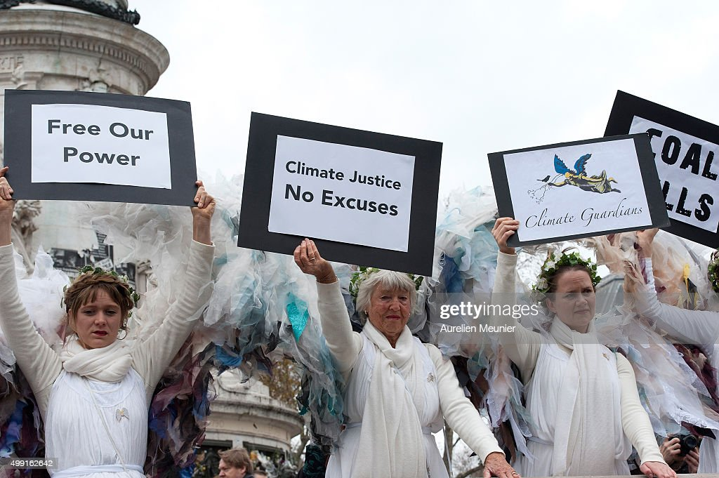 Climate Change Demonstrations Take Place In Paris Ahead of COP21 : News Photo