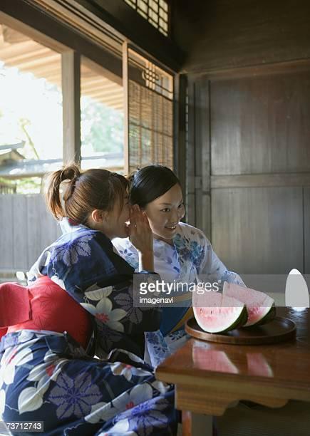 Women dressed Yukata and watermelon