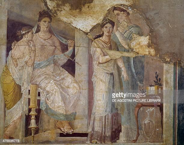Women dressing, fresco from Herculaneum. Roman civilisation, 3rd-2nd century BC. Naples, Museo Archeologico Nazionale