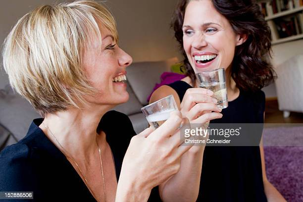 Women drinking champagne together