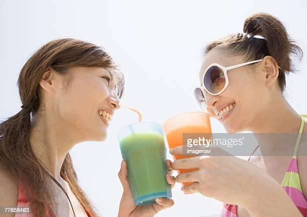 Women drinking juice