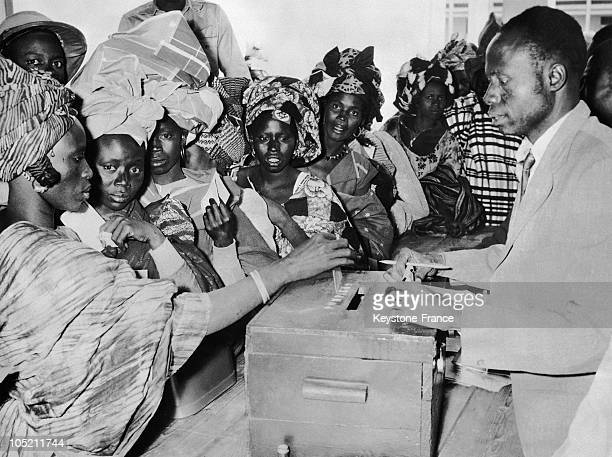 Women Dropping Off Their Voting Ballots In Dakar Senegal On January 8 For Their Country'S Independence
