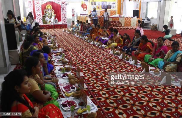 Women during the Laxmi Ganapathi Kumkum Puja on the occasion of Ganesh Utsav, organised by Telugu Welfare Association at Aggarwal Dharamshala, on...