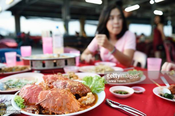 women eating malaysian seafood dinner - george town penang stock photos and pictures