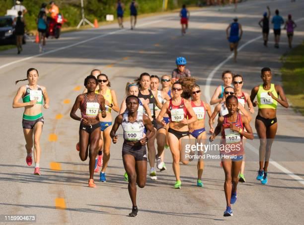 Women Elite eventual winner Joyciline Jepkosgei and second place winner Sandrafelis ChebetTuei both of Kenya start to break away from the pack very...
