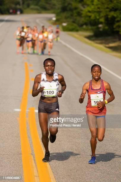 Women Elite eventual winner Joyciline Jepkosgei and second place winner Sandrafelis ChebetTuei both of Kenya establish a substantial lead from the...