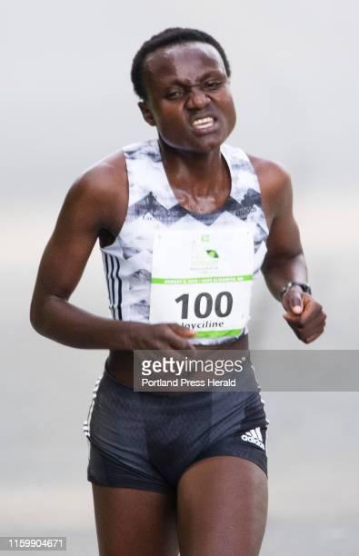 Women Elite eventual winner Joyciline Jepkosgei of Kenya runs all by herself midway through the 22nd annual Beach to Beacon 10K race on Saturday...