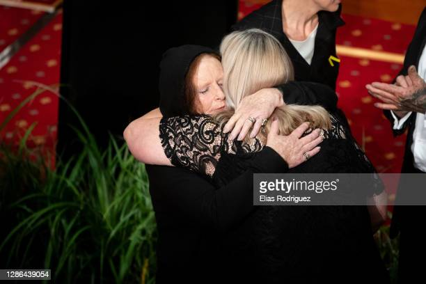 Women embraces Sonya Rockhouse at the end of the tenth anniversary of Pike River Mine disaster held at Legislative Council Chamber at Parliament on...