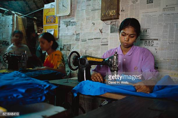 Women Embroidering with Machines