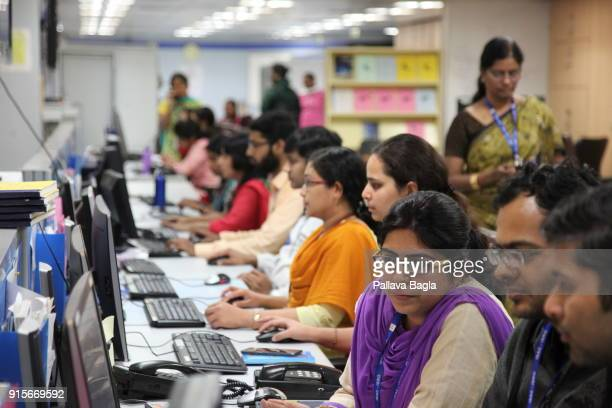 Women engineers concentrate in testing the electronic of the Chandrayaan2 spacecraft at The Indian Space Research Organisation or ISRO is putting...