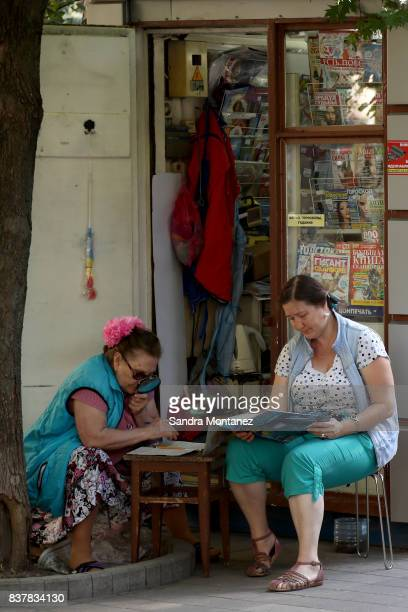Women enjoy a morning in RostovonDon city during a media tour of Russia 2018 FIFA World Cup venues on August 19 2017 in RostovonDon Russia