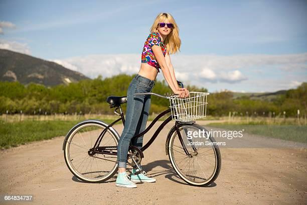 A women enjoying a day riding her cruiser bike.