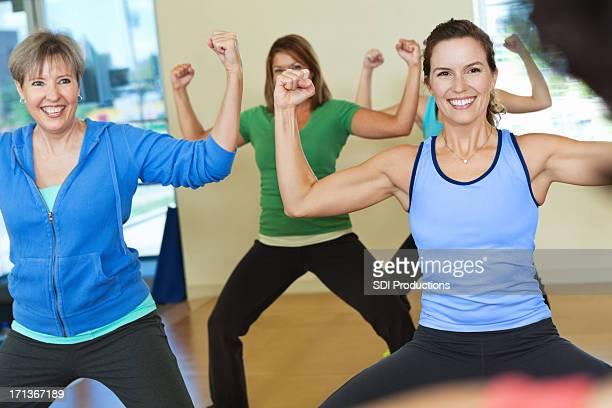 Women enjoying exercise class together