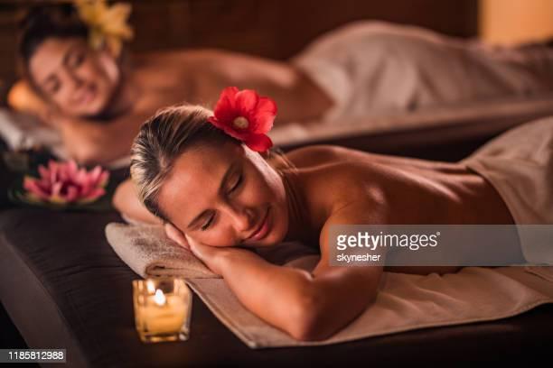 women enjoying in their relaxing moments at the spa. - aromaterapia imagens e fotografias de stock