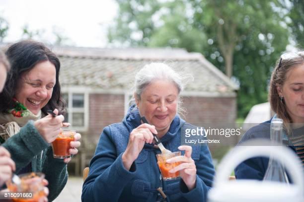 Women enjoying lunch outdoors