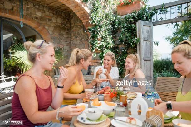 Women Enjoying Villa Breakfast