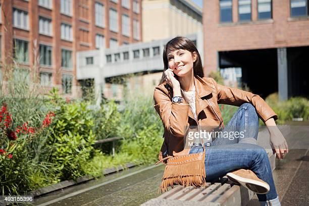 Women enjoys in city