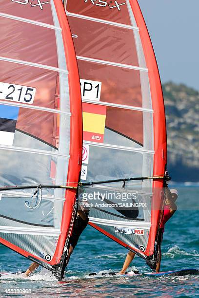 Women - EST215 - Ingrid Puusta, RS:X Women - ESP1 - Blanca MANCHON in action during Day 2 of the 2014 ISAF Sailing World Championships on September...