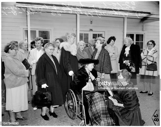 Women excluded from meeting of San Gabriel Valley Humane Society 21 January 1960 Group of womenMrs Elizabeth Cummer Lily Fontaine Caption slip reads...