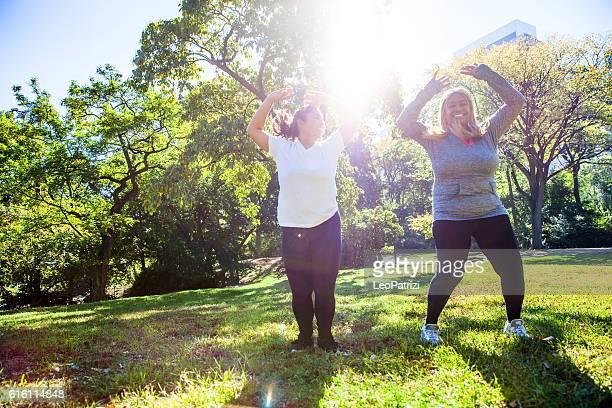 Women exercising in Central Park New York