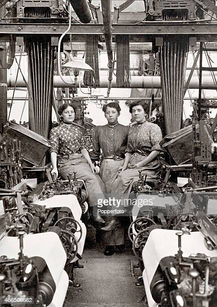 Women factory workers in a cotton mill in Lancashire circa 1908