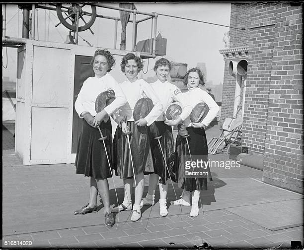 Women Fencers in Practice The Intercollegiate Champion Women's Fencing team of the New York University practiced today on the roof of the London...