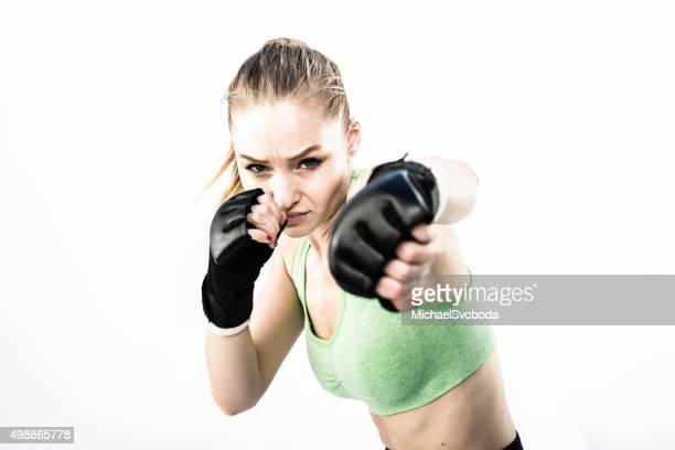 Women Fighter Punching White Background
