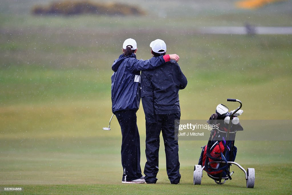 Women finish their round of golf at Muirfield Golf Club on May 19, 2016 in Gullane, Scotland. Muirfield Golf Club has lost the right to host the Open Championship after it failed to rally a majority of male members behind the vote allowing women to join the club as members. Women are welcome on the course and the clubhouse as guests and visitors.