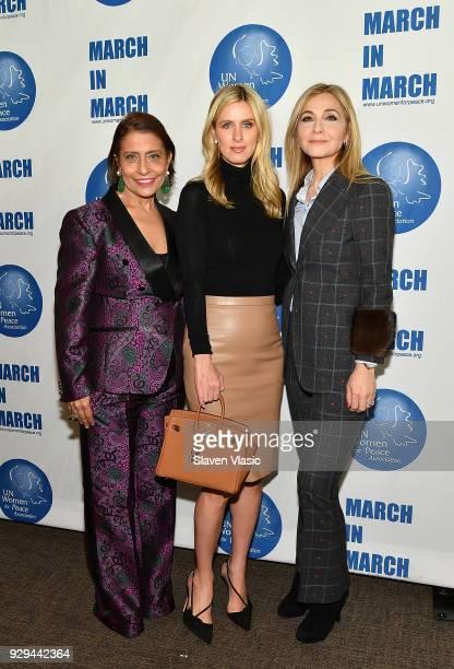 UN Women for Peace Association chair Muna Rihani AlNasser Nicky Hilton Rothschild and UNHCR National Goodwill Ambassador Sheikha Rima AlSabah attend...