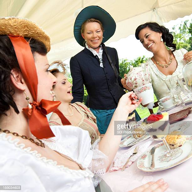 Women Friends at Victorian Tea Party Together