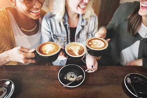 Women Friends Enjoyment Coffee Times Concept 674467472