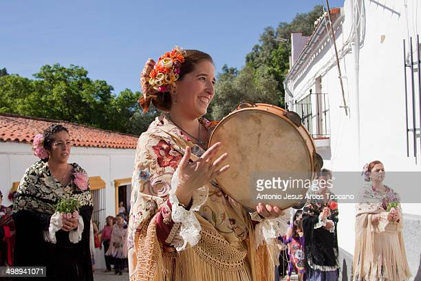 Women from Almonaster la Real, Huelva, parading dressed in typical costumes.
