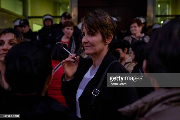 Women from an opposition group called Mother of Montenegro attend a rally against the social policy of the government on February 16 2017 in...