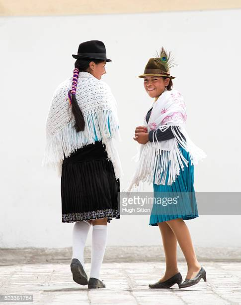 women from highlands wearing traditional ecuadorian costume, ecuador - hugh sitton stock pictures, royalty-free photos & images