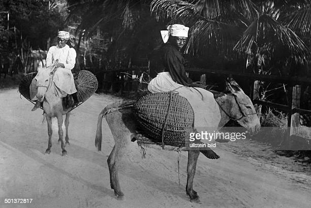 Women from Kingston on donkeys on the way to the market undated probably in the 1910's