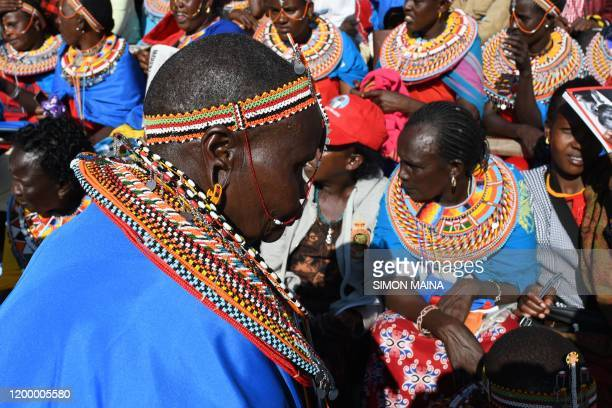 Women from Maralal in northern Kenya attend the funeral service of former Kenya president Daniel Arap Moi in Nairobi on February 11 2020 Moi whose...