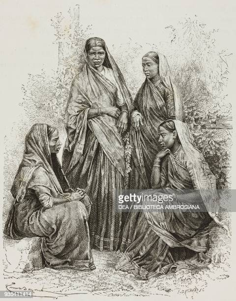 Women from Mumbai who converted to Christianity engraving from India travel in Central India and Bengal by Louis Rousselet