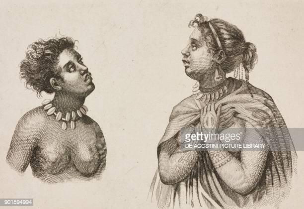 Women from Nuku Hiva Marquesas Islands Polynesia engraving by Danvin from Oceanie ou Cinquieme partie du Monde Revue Geographique et Ethnographique...