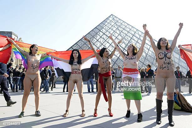 Women from the Arab and Muslim world demonstrate naked in front of the Louvre pyramid on March 8 to denounce women's oppression in muslim countries...