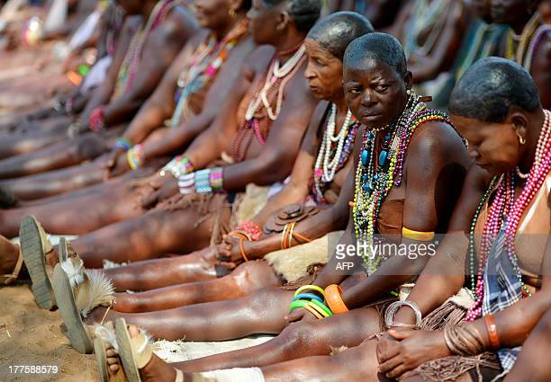 Women from the Balete tribe of Botswana participate in a ceremony dedicated to bringing back to life an ancient tradition of women's initiation in...