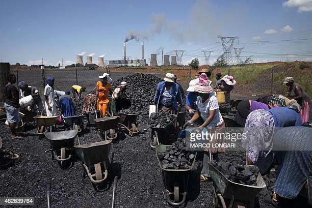 Women from the coal dust covered and power line pollution exposed Masakhane settlement fill their wheel barrows for a load of free coal provided by a...