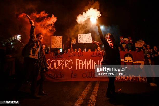 Women from the feminist movement Non Una Meno holding a banner reading Feminist Strike stage a protest march in Rome on March 8 2019 on International...