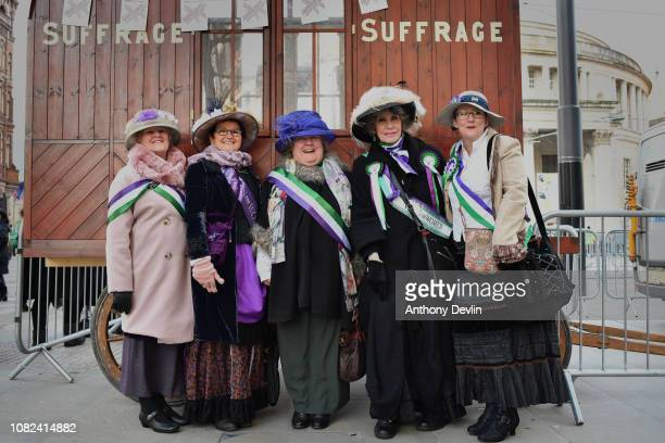 Women from the Friends of Wythenshawe Hall gather during the unveiling of a statue of the suffragette Emmeline Pankhurst entitled 'Our Emmeline' in...