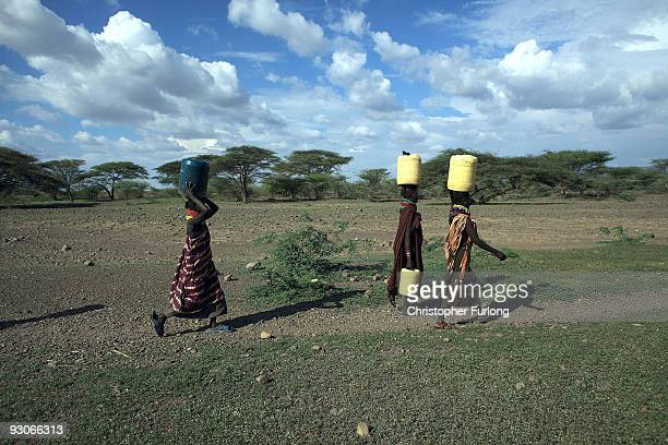 Women from the remote Turkana tribe in Northern Kenya carry water from a well. Some villagers are having to walk up to 10 miles, leaving at 4am to...